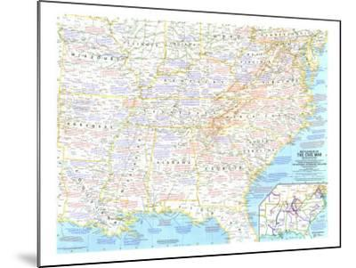 1961 Battlefields of the Civil War Map-National Geographic Maps-Mounted Art Print