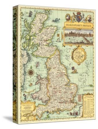 1964 Shakespeares Britain Map-National Geographic Maps-Stretched Canvas Print