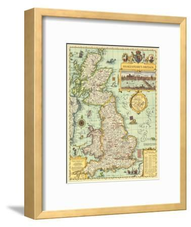 1964 Shakespeares Britain Map-National Geographic Maps-Framed Art Print