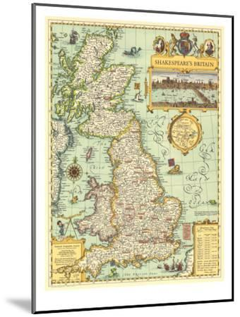 1964 Shakespeares Britain Map-National Geographic Maps-Mounted Art Print