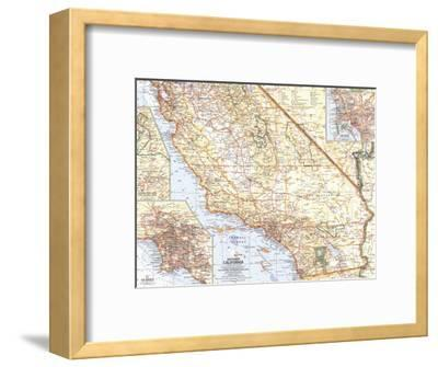 1966 Southern California Map-National Geographic Maps-Framed Art Print