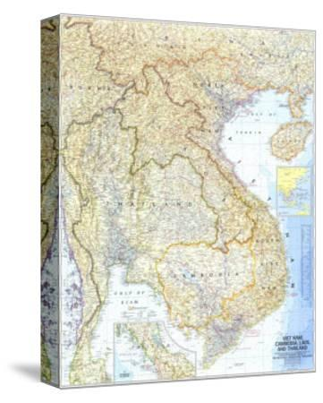 1967 Vietnam, Cambodia, Laos, and Thailand Map-National Geographic Maps-Stretched Canvas Print