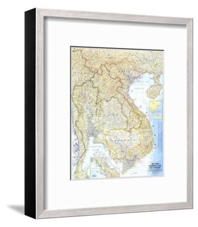 1967 Vietnam, Cambodia, Laos, and Thailand Map-National Geographic Maps-Framed Premium Giclee Print