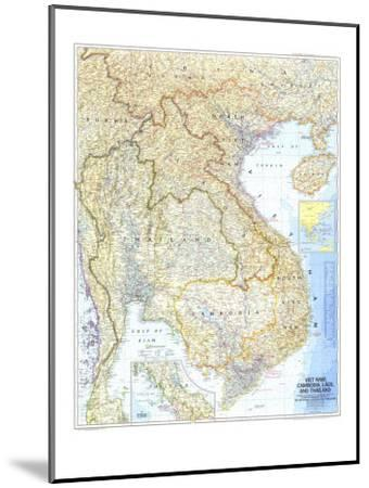 1967 Vietnam, Cambodia, Laos, and Thailand Map-National Geographic Maps-Mounted Premium Giclee Print