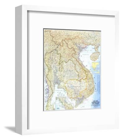 1967 Vietnam, Cambodia, Laos, and Thailand Map-National Geographic Maps-Framed Art Print