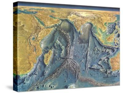 1967 Indian Ocean Floor Map-National Geographic Maps-Stretched Canvas Print