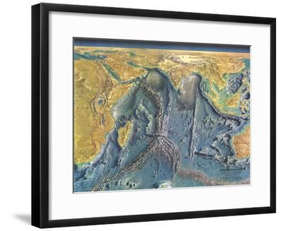 1967 Indian Ocean Floor Map-National Geographic Maps-Framed Art Print