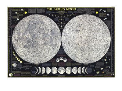 1969 Earths Moon Map-National Geographic Maps-Framed Premium Giclee Print