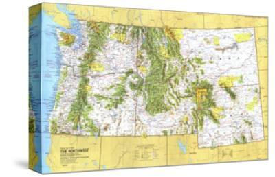 1973 Close-up USA, Northwest Map-National Geographic Maps-Stretched Canvas Print