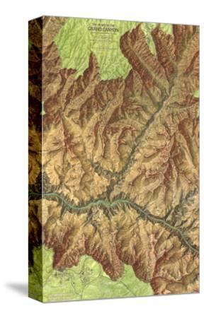 1978 Heart of the Grand Canyon Map-National Geographic Maps-Stretched Canvas Print