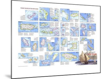 1981 Tourist Islands of the West Indies Map-National Geographic Maps-Mounted Art Print