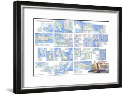 1981 Tourist Islands of the West Indies Map-National Geographic Maps-Framed Art Print