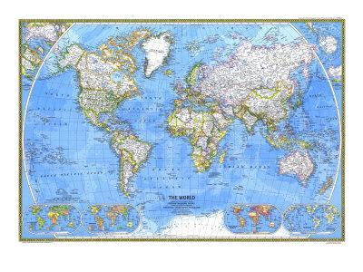 1981 World Map-National Geographic Maps-Framed Premium Giclee Print