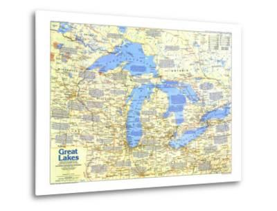 1987 Great Lakes Map Side 1-National Geographic Maps-Metal Print