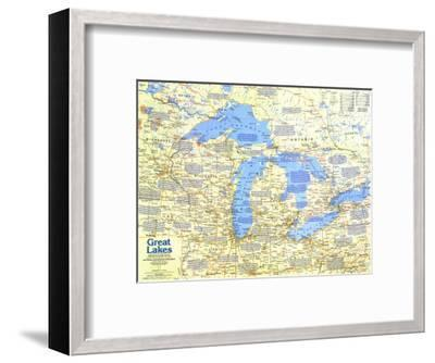 1987 Great Lakes Map Side 1-National Geographic Maps-Framed Art Print