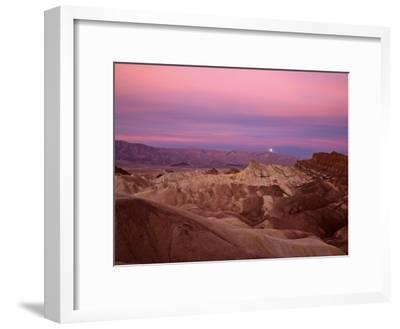 Full moon setting over Manly Beacon at Zabriskie Point-Michael Melford-Framed Photographic Print