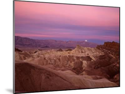 Full moon setting over Manly Beacon at Zabriskie Point-Michael Melford-Mounted Photographic Print