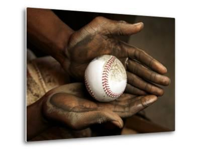 Balls are rubbed with mud before every major league baseball game-Rebecca Hale-Metal Print