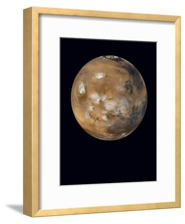Water-ice clouds drifting over ancient volcanoes on Mars--Framed Photographic Print