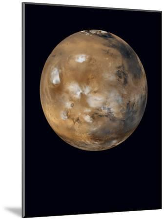 Water-ice clouds drifting over ancient volcanoes on Mars--Mounted Photographic Print