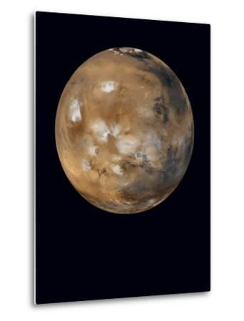 Water-ice clouds drifting over ancient volcanoes on Mars--Metal Print