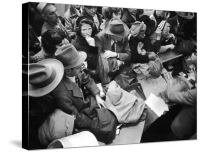 Frenzied Shoppers Crowd around Busy Cashier During Hearn's Department Stores Bargain Rush Sale-Lisa Larsen-Stretched Canvas Print