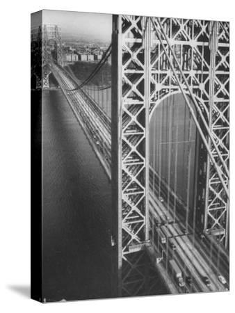 George Washington Bridge with Manhattan in Background-Margaret Bourke-White-Stretched Canvas Print