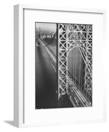 George Washington Bridge with Manhattan in Background-Margaret Bourke-White-Framed Photographic Print