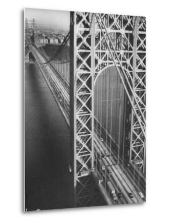 George Washington Bridge with Manhattan in Background-Margaret Bourke-White-Metal Print