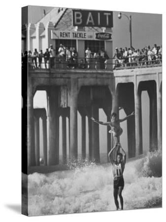 Competition in Tandem Surfing-John Loengard-Stretched Canvas Print