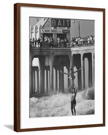 Competition in Tandem Surfing-John Loengard-Framed Photographic Print