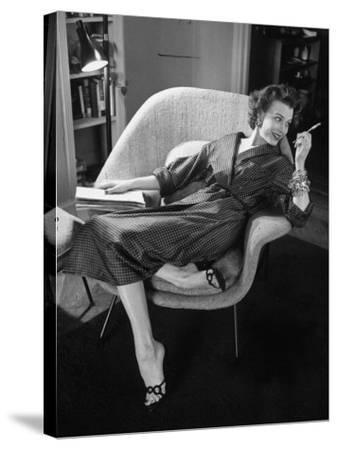 Woman in Man's Tie Silk Dressing Gown from Brooks Brothers-Nina Leen-Stretched Canvas Print