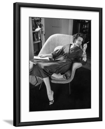Woman in Man's Tie Silk Dressing Gown from Brooks Brothers-Nina Leen-Framed Photographic Print