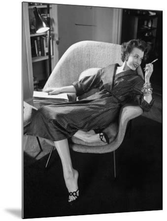 Woman in Man's Tie Silk Dressing Gown from Brooks Brothers-Nina Leen-Mounted Photographic Print