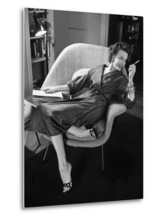 Woman in Man's Tie Silk Dressing Gown from Brooks Brothers-Nina Leen-Metal Print