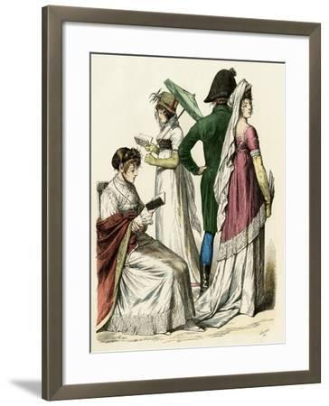 European Ladies Reading and a Couple Walking During the Early French Empire Period, 1802 to 1804--Framed Giclee Print