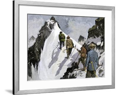 Mountaineers on a Couloir in the Alps, Circa 1890--Framed Giclee Print