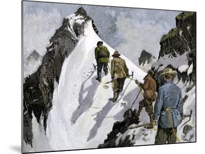 Mountaineers on a Couloir in the Alps, Circa 1890--Mounted Giclee Print