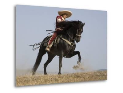 Charro on a Black Andalusian Stallion Galloping in Ojai, California, USA-Carol Walker-Metal Print