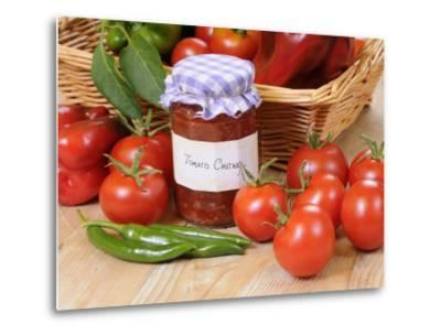 Country Kitchen Scene with Home Made Chutney and Ingredients - Tomatoes and Peppers, UK-Gary Smith-Metal Print