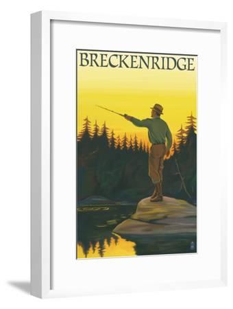 Breckenridge, Colorado - Fisherman Casting, c.2008-Lantern Press-Framed Art Print