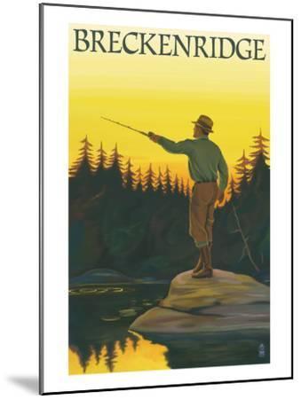 Breckenridge, Colorado - Fisherman Casting, c.2008-Lantern Press-Mounted Art Print