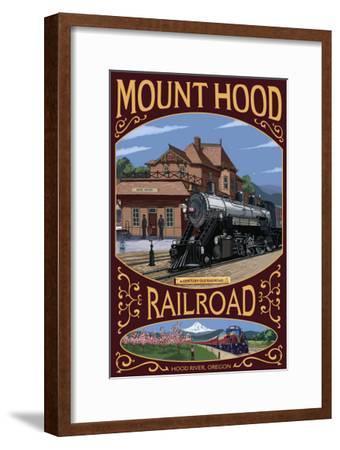 Mt. Hood Railroad - Hood River, Oregon, c.2008-Lantern Press-Framed Art Print