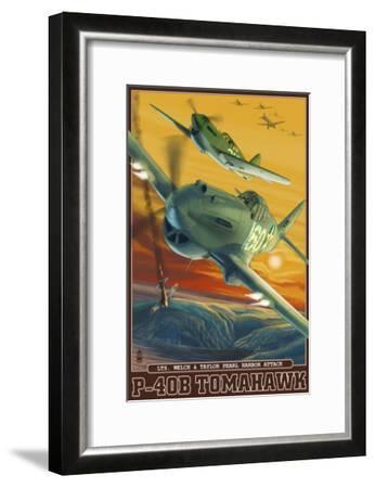Pearl Harbor, Hawaii - P-40B Tomahawks, c.2008-Lantern Press-Framed Art Print