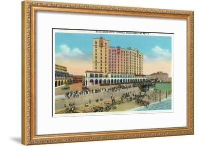 Galveston, Texas - Exterior View of the Buccaneer Hotel from Seawall Blvd and the Beach, c.1947-Lantern Press-Framed Art Print