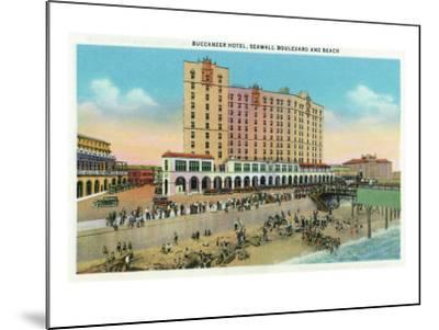 Galveston, Texas - Exterior View of the Buccaneer Hotel from Seawall Blvd and the Beach, c.1947-Lantern Press-Mounted Art Print