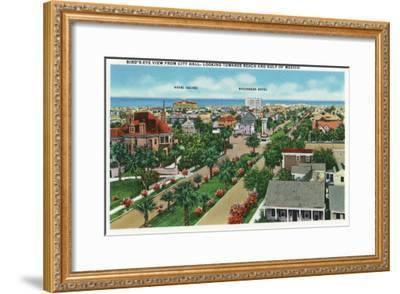 Galveston, Texas - Aerial View from City Hall Towards the Beach and Gulf of Mexico, c.1947-Lantern Press-Framed Art Print