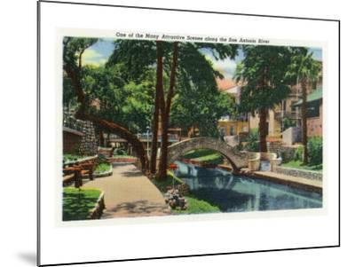 San Antonio, Texas - Scenic View Along the San Antonio River No. 3, c.1944-Lantern Press-Mounted Art Print