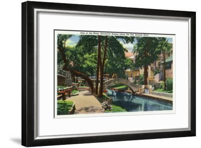 San Antonio, Texas - Scenic View Along the San Antonio River No. 3, c.1944-Lantern Press-Framed Art Print