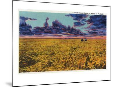 Amarillo, Texas - View of a Field of Wheat at Twilight, c.1935-Lantern Press-Mounted Art Print